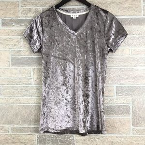 POL Crushed Velvet V Neck Tee Shirt Small